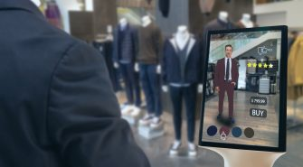 Iot Smart Retail Futuristic Technology Concept, Happy Man Try To